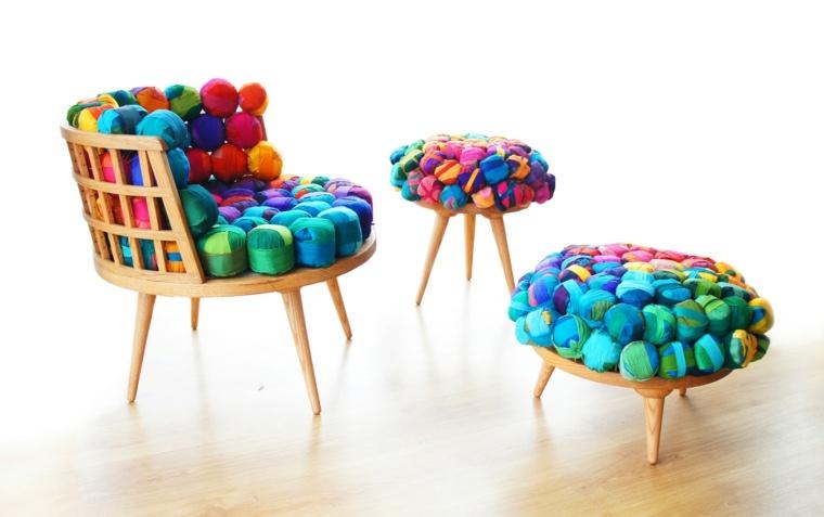 muebles reciclados telas colores