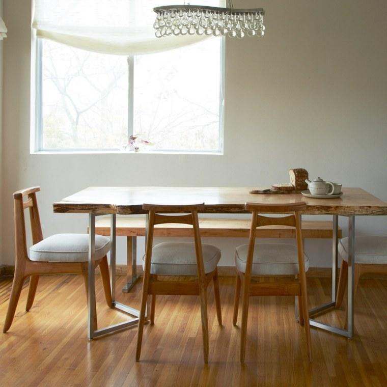 Mesas de comedor modernas de madera maciza 50 ideas for Sillas para comedor modernas en madera