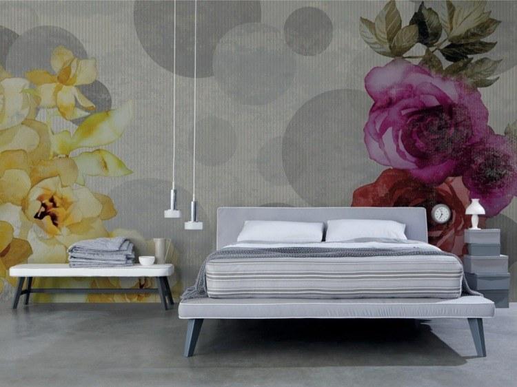papel pintado gris flores