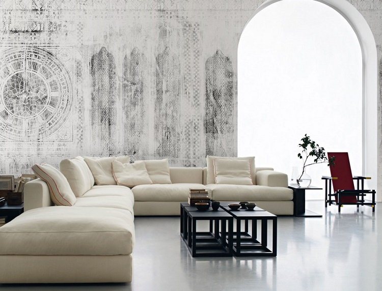 papel pared salon sofa blanca ideas