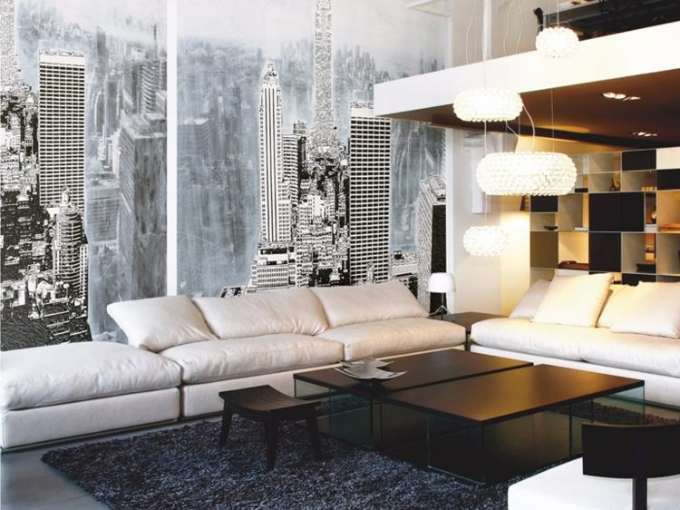 papel de pared salon muebles blanco negro ideas