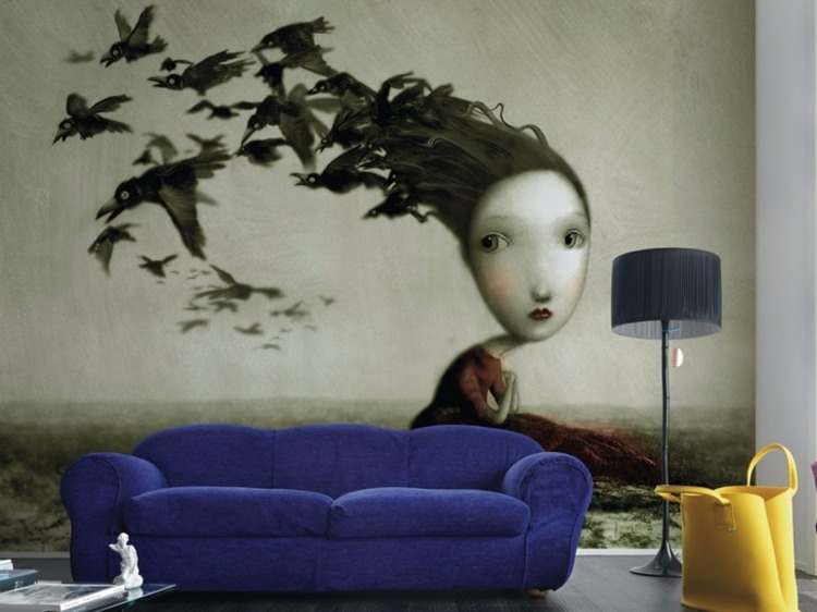 papel de pared salon sofa azul ideas