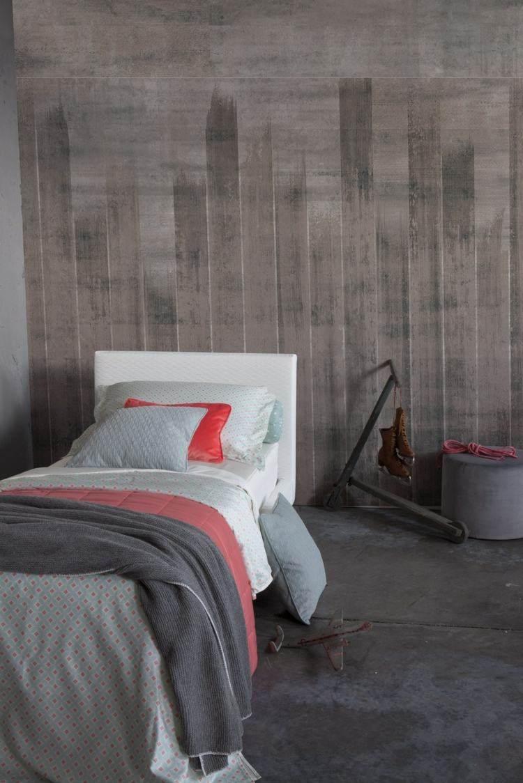 papel pintado madera gris