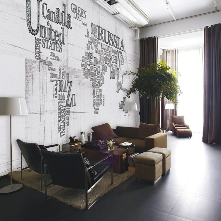 papel salon pared mapa mundo ideas