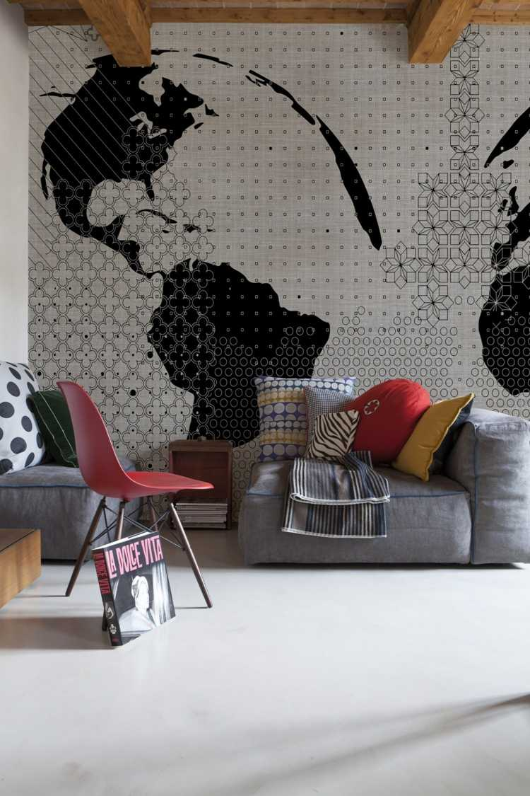 papel salon pared sofa gris confortable ideas