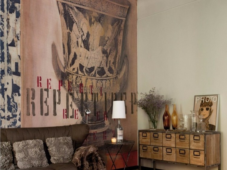 papel salon pared diseno rustico ideas
