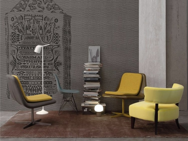 papel salon pared sillones amarillos ideas