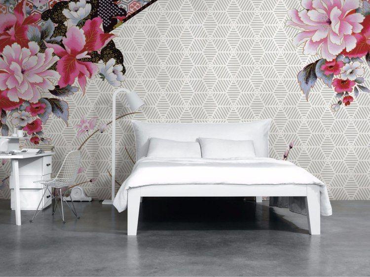 papeles pared figuras flores