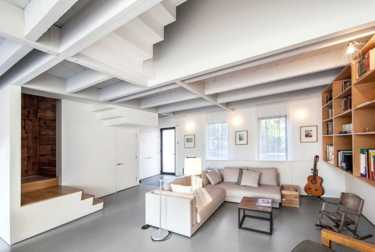 pared estanterias madera salon muebles blancos ideas