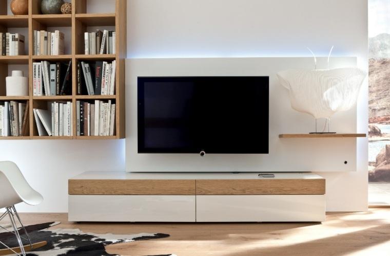 pared madera blanca televisor salon ideas