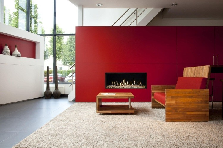 pared roja chimenea moderna diseño