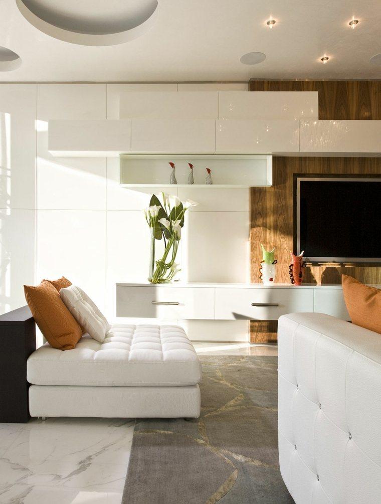 Decoracion salon moderno 50 dise os en blanco y madera - Armarios para el salon ...