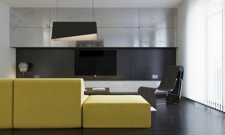 paredes salon televisor acento acero ideas