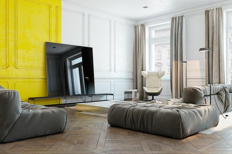 paredes salon televisor acento amarillo ideas