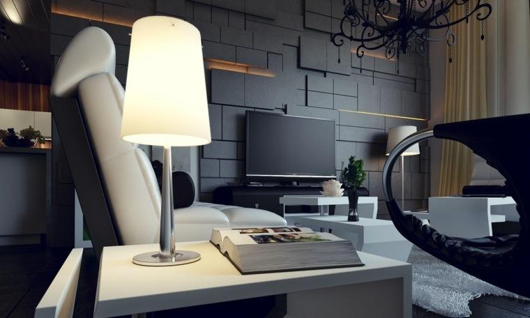 paredes salon televisor acento asimetrica ideas