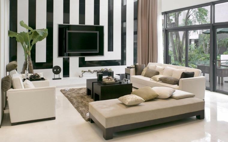 paredes salon televisor acento blanco negros ideas