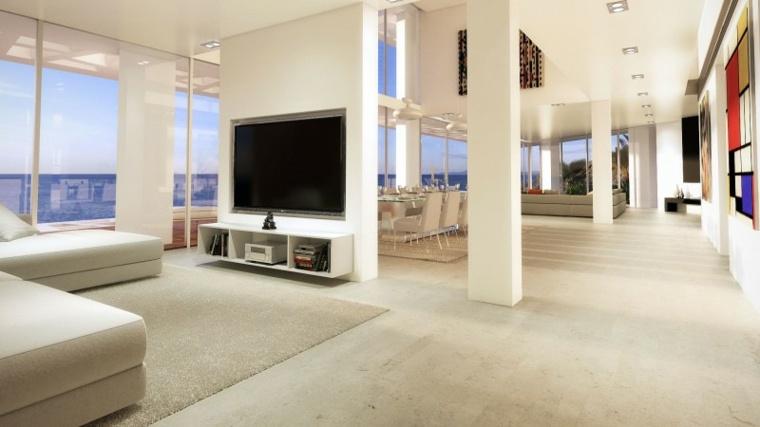 parede salon televisor acento casas amplias ideas