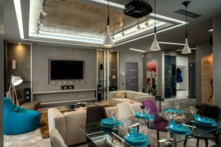paredes salon televisor acento comedor ideas