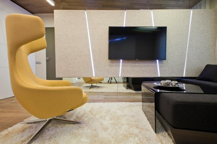 pared salon televisor acento iluminacion LED ideas
