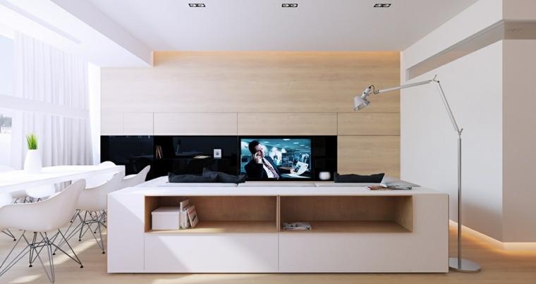 pared salon televisor acento madera natural ideas