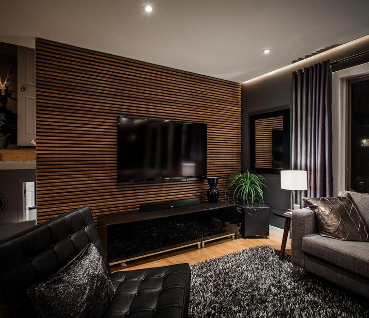 Paredes 50 opciones de televisores en el sal n - Revestimientos de paredes interiores en madera ...