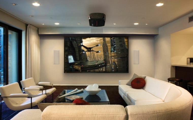 pared salon televisor acento muebles blancos ideas