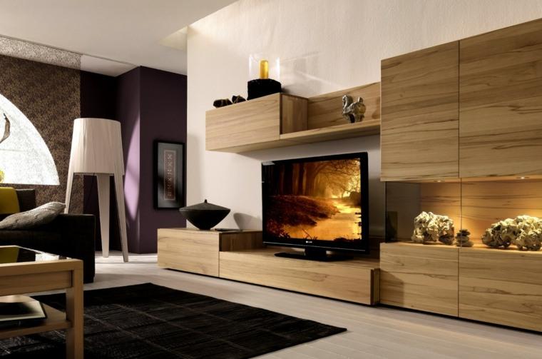 pared salon televisor acento muebles madera ideas