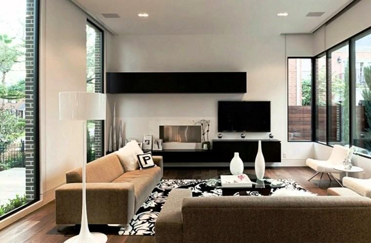 pared salon televisor acento muebles negros ideas