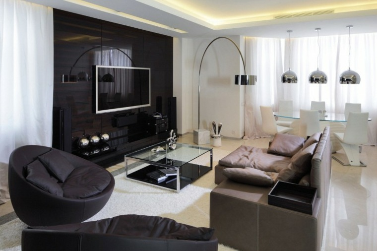 pared salon televisor acento negra brillante ideas