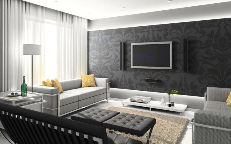Paredes 50 opciones de televisores en el sal n - Papel pared salon ...