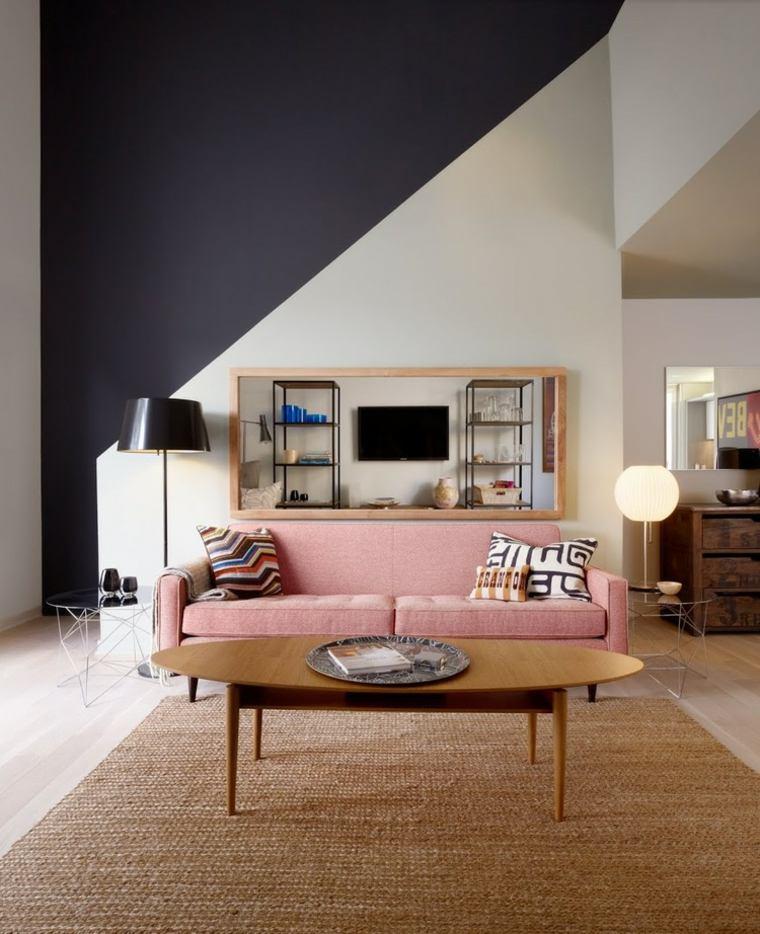 pared salon televisor acento sofa rosa ideas