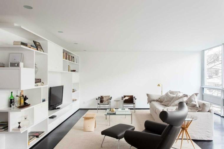 paredes salon televisor acento estanterias blancas ideas