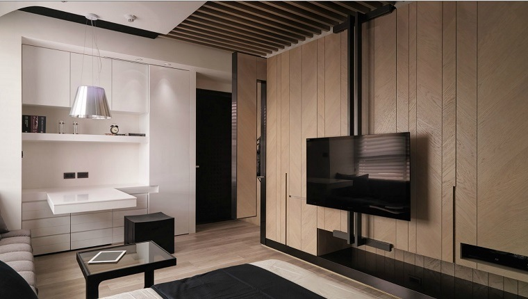 pared salon televisor apartamento pequeno ideas