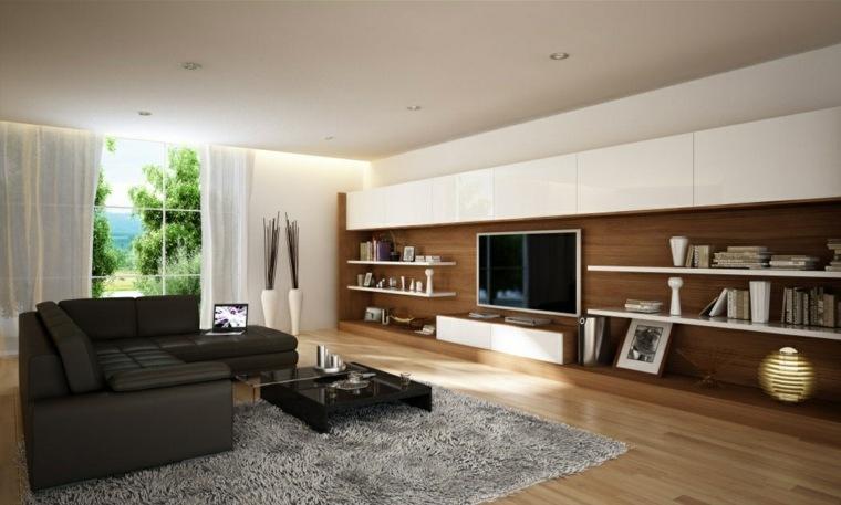pared salon televisor armarios blancos ideas