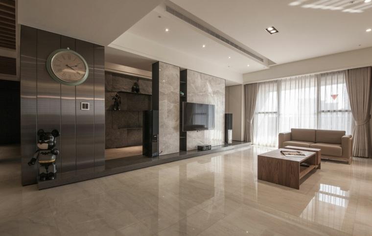pared salon televisor marmol lujoso ideas