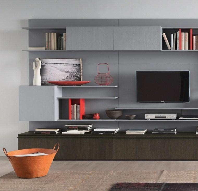 pared salon televisor muebles grises ideas