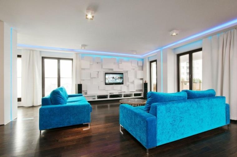 pared salon televisor sofas azules HOLA Design ideas