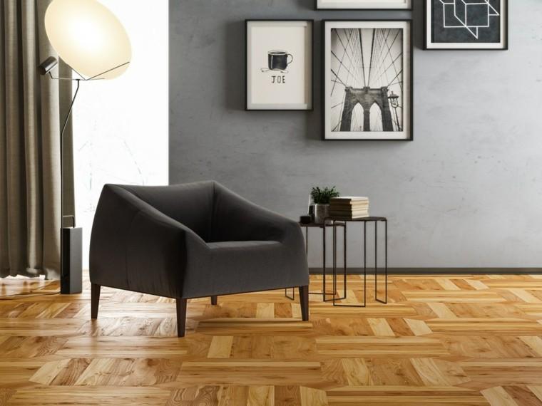 parquet suelo sillon negro lampara ideas