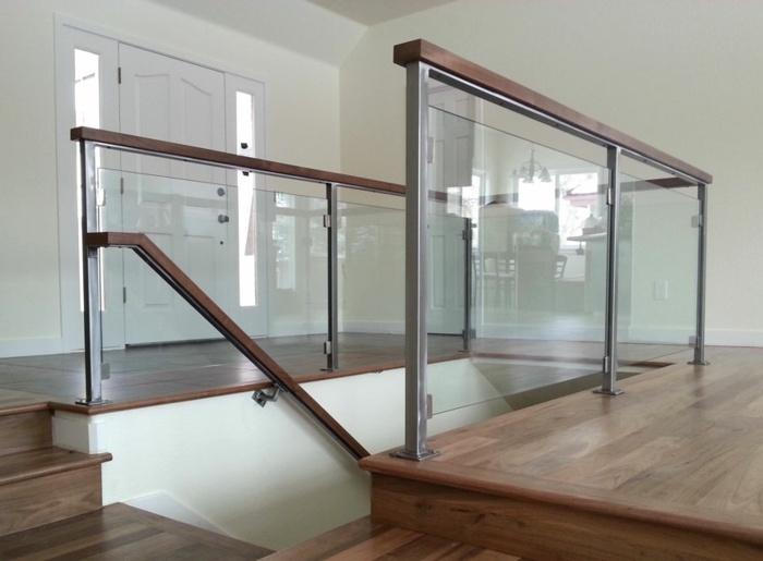 Barandillas vidrio y otros materiales 50 escaleras de - Pasamanos de madera modernos ...