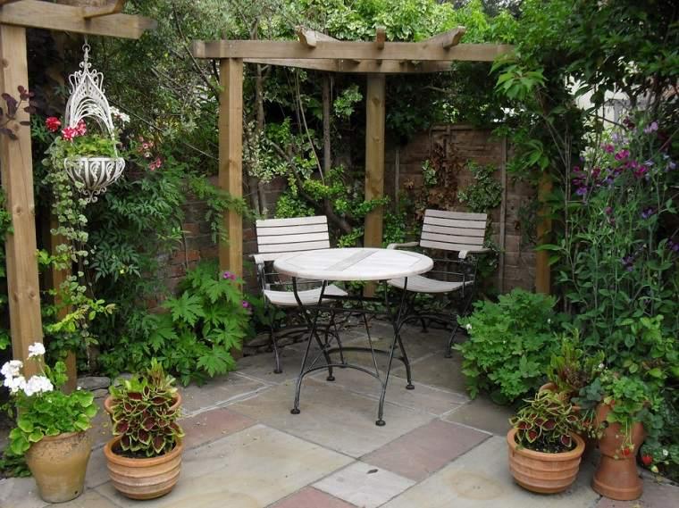 patio pequeño trasero plantas