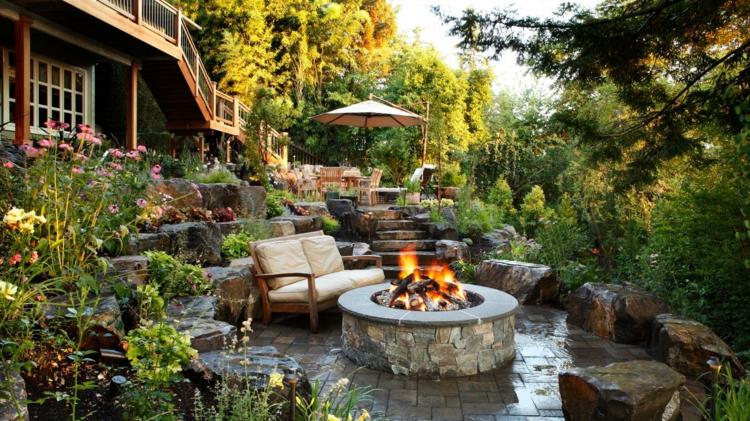 patio salones exteriores decorados lantas jardin