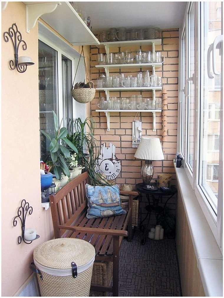 pequeña terraza decoración banco