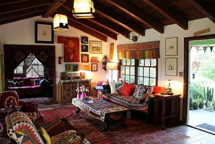 pequeño salon estilo rustico etnico
