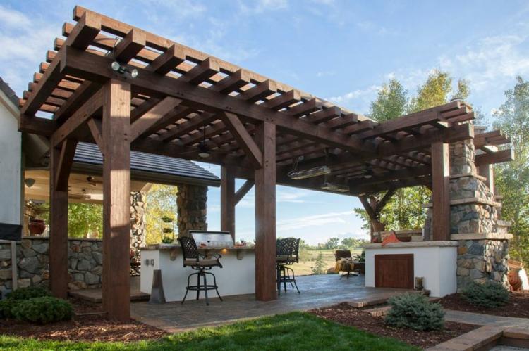 pergola madera diseños ideas patios cesped
