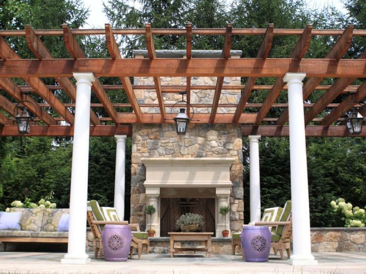 pergola madera muebles plantaciones macetas columnas