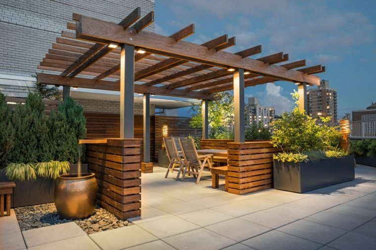 pergola madera muebles preciosos terraza ideas