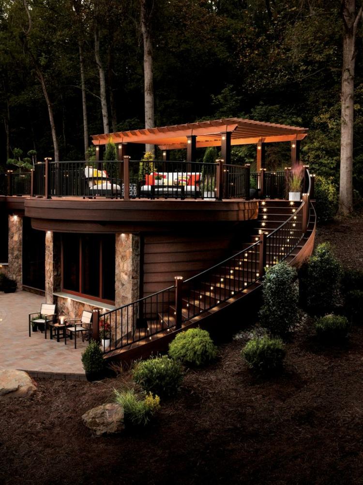 pergola madera plantas led decoracion noches escaleras