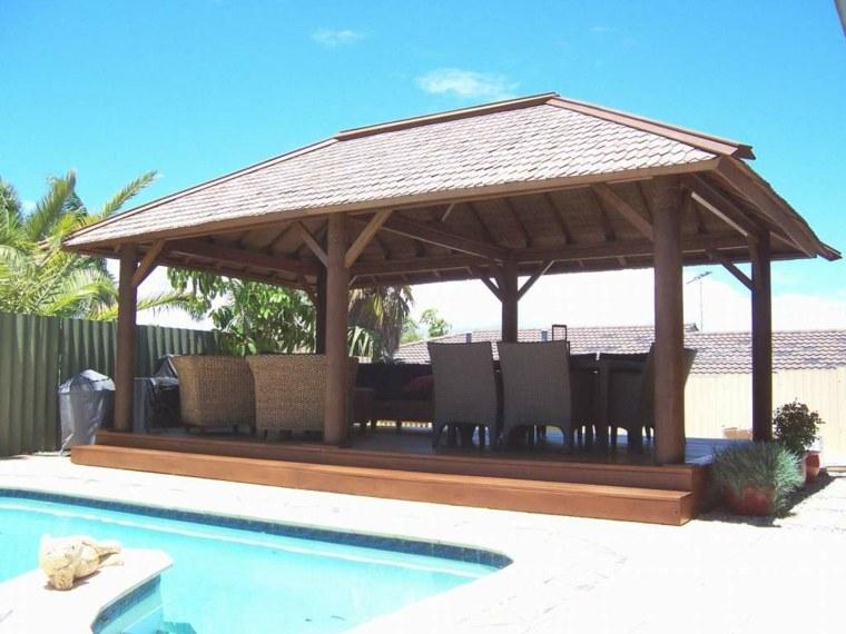 patio piscina cenador plataforma madera