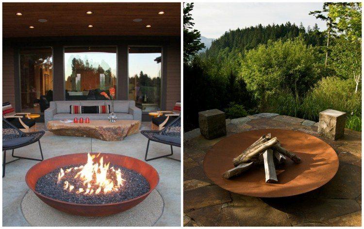 pozo fuego rocas sillones maderas leñas