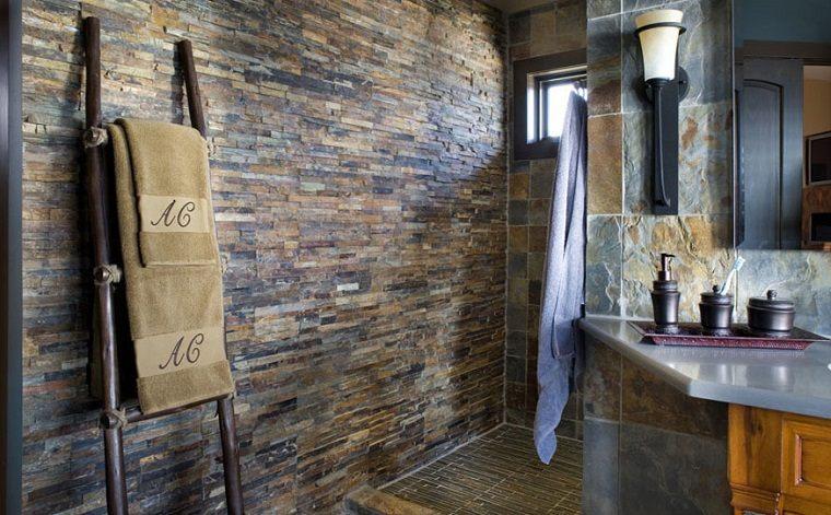 Baño Rustico Con Piedra:Decoracion vintage de interiores, 50 creaciones para el hogar